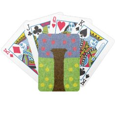Green grass with yellow flower and a blue tree with red fruits. You can also Customized it to get a more personally looks. Custom Deck Of Cards, Red Fruit, Green Grass, Yellow Flowers, Playing Cards, Card Deck, Pattern, Blue, Calm