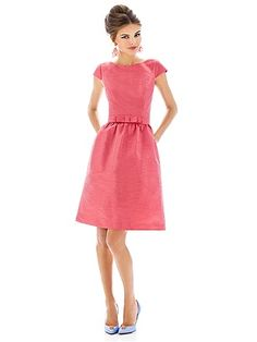 Alfred Sung Style D568 in Candy Coral #PatsysBridal #AlfredSung #bridesmaid www.patsysbridal.com