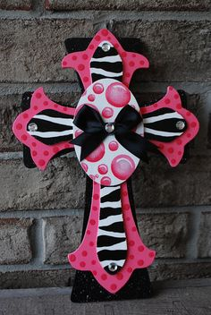 Items similar to Custom Hand Painted Pink Zebra Cross on Etsy Hand Painted Crosses, Wooden Crosses, Crosses Decor, Wall Crosses, Mosaic Crosses, Cross Wreath, Zebra Crossing, Rustic Cross, Old Rugged Cross
