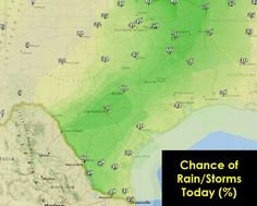 Good Thursday Morning Texas! As #Bill continues to move away we'll see the widespread heavy rain chances decrease across North Texas this morning. However we're not done with the rain yet. Copious amounts of moisture remain in place and with sunshine expected this morning we'll see new showers/storms pop up across parts of North, East, Central, South-Central, Deep South, and Southeast Texas late this morning into the afternoon hours. Scattered to numerous thunderstorms are pr