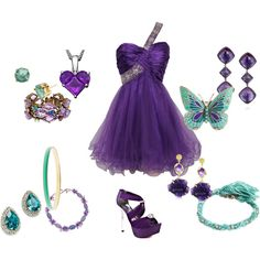 Purple and teal, butterflies and rhinestones