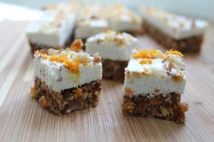 Raw Carrot Cake Bites with Coconut Cream Topping. These bite of spring are gluten-free, vegan, refined sugar-free and paleo.