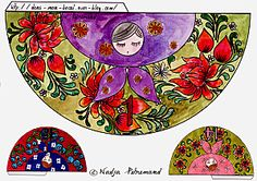 Example of one of the brightly coloured templates for making paper Russian dolls.