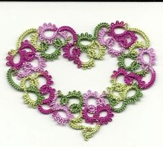 Pretty tatted heart. Need to learn how tat! On my list after finishing the phd, all those cross stitch projects and refreshing myself on how to crochet! Too many crafts not enuff time!