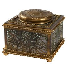 Tiffany Studios Pine Needle Inkwell | From a unique collection of antique and modern inkwells at http://www.1stdibs.com/furniture/more-furniture-collectibles/inkwells/