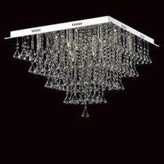 Impex Parma Square 12 Light Crystal Flush Chandelier CFH301171/12/PL/CH
