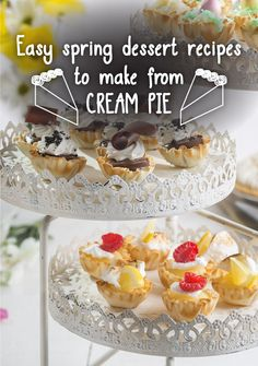 Easy spring dessert recipes to make from cream pie | Featured: Mini Pie Cups - just scoop pie into filo cups and they're perfect for Easter!
