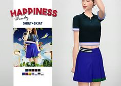 """Happiness Wendy Shirt + Skirt • New meshes / EA mesh edits • Category: top (women), bottom (women) • Age: teen / young adult / adult / elder • 5 swatches (shirt), 7 swatches (skirt) • Suggested by anonymous Download: """"Shirt: SimFileShare Skirt:..."""