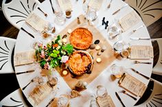 Multi-purpose pie. Pie instead of cake and part of the centerpieces.