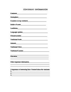 This product is a 1 page recording sheet for researching and collecting information on continents.