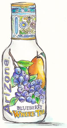 http://traceyfletcherking.blogspot.com.au/  Watercolour and ink painting of Arizona Blueberry iced tea