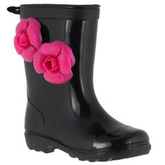 Capelli New York Jelly Flower Trim And Back Pull Loop Girls Basic Body Jelly Rain Boot #backtoschool #backtostyle
