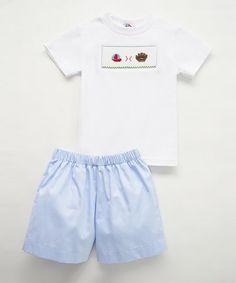 White Baseball Smocked Tee & Blue Shorts - Infant, Toddler & Boys #zulily #zulilyfinds