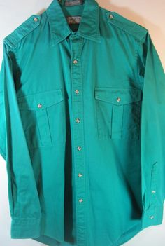 Lord Taylor Men L/S Button Front Shirt Size SM Green 100% Cotton.  PPP 76 #LordTaylor #ButtonFront