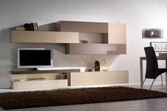 Este mueble de diseño mide 330 cm de largo y 45 cm de fondo. Proponemos la combinación de los acabados arena brillo y moka brillo.
