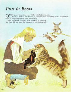 Puss in Boots / Sleeping Beauty  Vintage Illustration