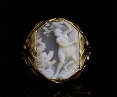 Antique Gallery Soleil アンティークジュエリー / R.LALIQUE ルネ・ラリック サイン入り アールヌーヴォー メンズゴールドリング「アンドロメダ」