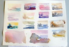 """Painting mood can be changed with color, watercolor swatches about 2"""" x 3"""""""