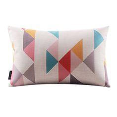 Lovely Geometric Rec Cotton/Linen Decorrative Pillow Cover – AUD $ 18.05