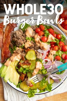Craving a juicy burger but without the bun? This Loaded Burger Bowl Salad has all the flavor of a burger, but is Whole30- and paleo-friendly! Load it up with all your favorite burger toppings for a satisfying dinner recipe. #burgerbowls #paleorecipes
