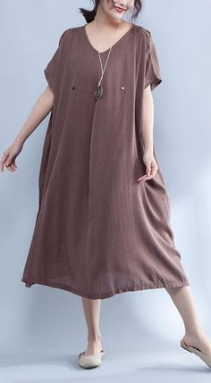 48ac68c0b9 Modern cotton Tunic plus size V Neck Shoulder Sleeve Summer Loose Cotton  Dress. Omychic Linen Dress