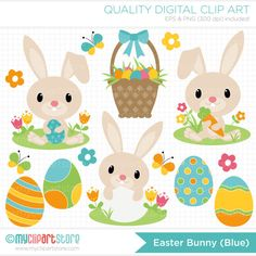 Easter Bunny Blue Clip Art / Digital Clipart por MyClipArtStore