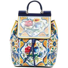 DOLCE & GABBANA 'MAIOLICA' PRINT PVC and leather BACKPACK (1.071.735 CLP) ❤ liked on Polyvore featuring bags, backpacks, print backpacks, real leather bags, leather backpack, patterned backpacks and knapsack bag