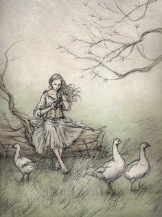 The Goose Girl, from the Brothers Grimm. The Goose Girl Art And Illustration, Goose Drawing, Brothers Grimm Fairy Tales, Classic Fairy Tales, Tarot, Fairytale Art, Art Girl, Vintage Art, Illustrators