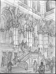 To salute the era of Renaissance Fantasy Architectural Urban Sketches. Click the image, for more art by Longque Chen. Architecture Drawing Sketchbooks, Architecture Concept Drawings, Architecture Antique, Architecture Art, Perspective Art, Environment Concept Art, Art Drawings Sketches, Art Sketchbook, Fantasy Art