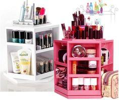 BEAUBAR 360 Rotating Cosmetic Organizer Shelf Makeup Case Brush Holder Rack