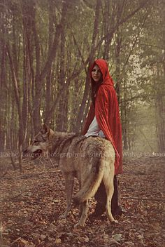 Little Red Riding Hood: Use the dogs as wolves throughout the shoot. Dress him up as the hunter. Try to stay away from single person shots, use photos as guides for my own scenes.