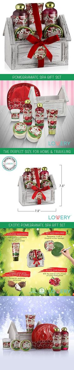 Christmas Gift Spa Basket Set, Luxurious 8 Piece Bath & Body Set For Men/ Women, Exotic Pomegranate Scent - Shower Gel, Bubble Bath, Body Lotion, Bath Salt, Body Scrub, Towel, Cosmetic Bag & Wood Case