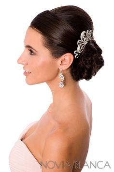 bridal hair comb and earrings Biżuteria ślubna www.novia-blanca.pl