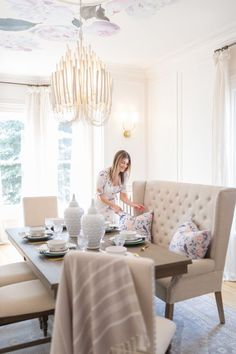 Pop-Up Dining Room with the Brick The Leslie Style Farmhouse Dining Room Brick Dining Leslie PopUp Room style Settee Dining, Dinning Room Tables, Modern Dining Table, Dining Room Design, Dining Room Furniture, Room Chairs, Beach Dining Room, Plywood Furniture, Dining Rooms