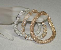 Triplets - Shiny ... Bangle Set . Bracelet . Bead Crochet . Silver . Gold . Sparkly . Metallic . Stylish . Chic . Bold . Modern . Beautiful. $67.00, via Etsy.