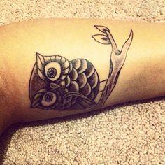 Light ink Owl Tattoo