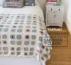 This blanket is made of a series of granny squares, stitched together. The final touch is a beautiful and simple crocheted border.