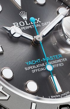 The turquoise seconds hand of a Yacht-Master, available in 40 and 37 mm.