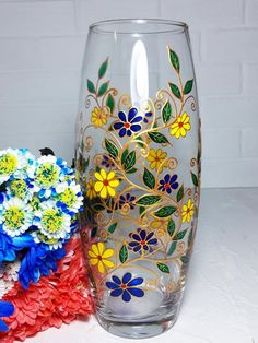 Glass Vase Hand-Painted Blue And Yellow Flowers.
