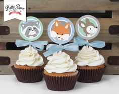 Boy Woodland Cupcake Toppers // INSTANT DOWNLOAD // Favor Tags