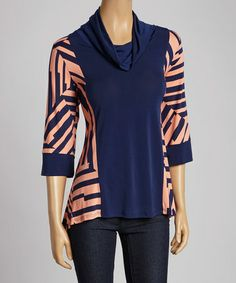 Look what I found on #zulily! Navy & Coral Sidetail Cowl Neck Tunic - Women & Plus by Come N See #zulilyfinds
