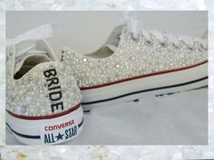 All over pearls converse / wedding converse / #vintage #pearls #personalised…