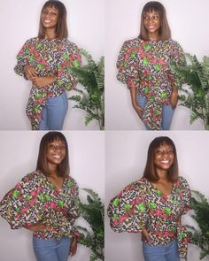 Ankara Dress Styles, Ankara Tops, Nigerian Lace Dress, African Tops, Skirt Fashion, African Fashion, Blouse Designs, Wrap Tops, Wrap Dress