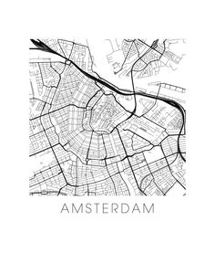 Amsterdam Map Print by iLikeMaps on Etsy