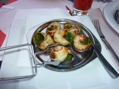 Escargo, the french word for snails.  Very tasty, they are like mushrooms.
