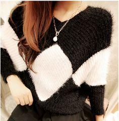 Loose v-neck knit sweater coat AX112606ax