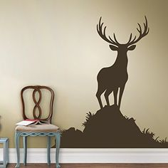 Elk Vinyl Wall Decal Caribou (Family room) would look nice w/fireplace