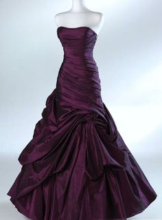 Dark purple wedding dress, looks like a prom dress but still beautiful Formal Evening Dresses, Evening Gowns, Prom Dresses, Purple Wedding Dresses, Dark Purple Wedding, Bridesmaid Dresses, Plum Wedding, Bridesmaids, Eggplant Wedding