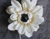 White/Ivory Flower Hair Clip with Black Diamond Center