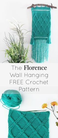 #freecrochetpattern #crochetwallhanging #bohocrochet Free crochet pattern for the boho chic inspired Florence Wall Hanging. Includes detailed tutorials for making tassels and fringe, stitch tutorials, and instructions for adding your wall hanging to the mount. Repin for later!
